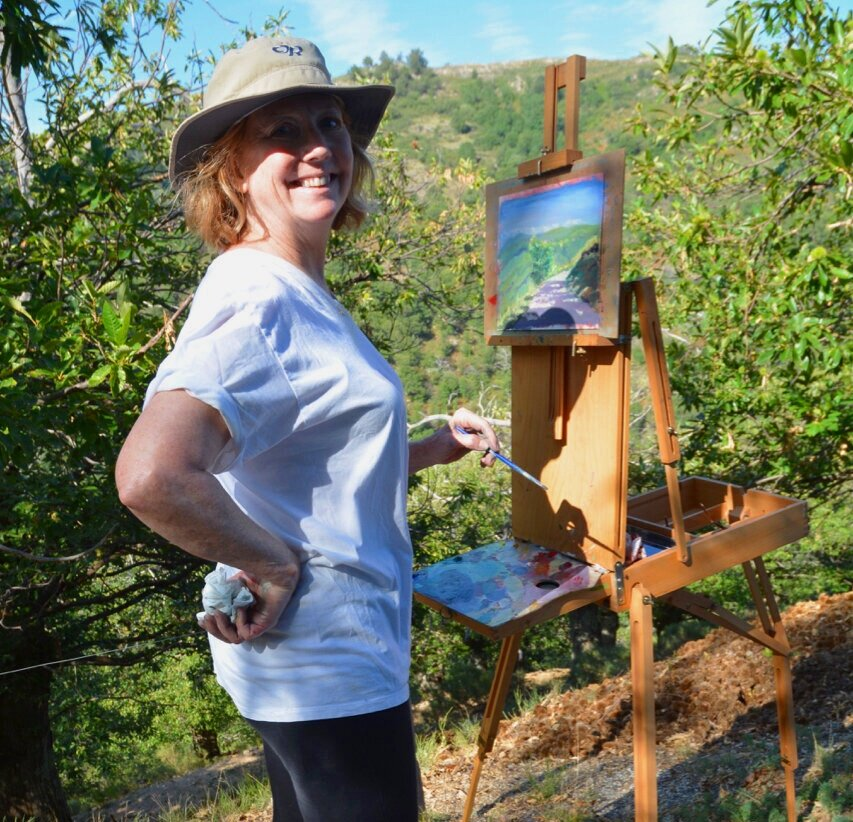 Julie ~ Pittsboro, North Carolina - Why enroll in the Arches program at Les Tapies?Simply put, it was life changing for me. Upon arrival, I was awestruck by the stunning natural beauty of the mountain ranges of the Ardèche region. In short order, my stressed heart was kneaded open and made comfortable by the encouraging, capable staff and like-minded fellow participants. The whole atmosphere allowed me to feel, speak and act in an entirely genuine manner, all the while keeping my eyes wide open. My true self then soared unencumbered. I enthusiastically began to draw, write, paint, explore, wonder, create, share, listen, hike, shop and feast.My body, mind and spirit will be forever grateful for this experience.