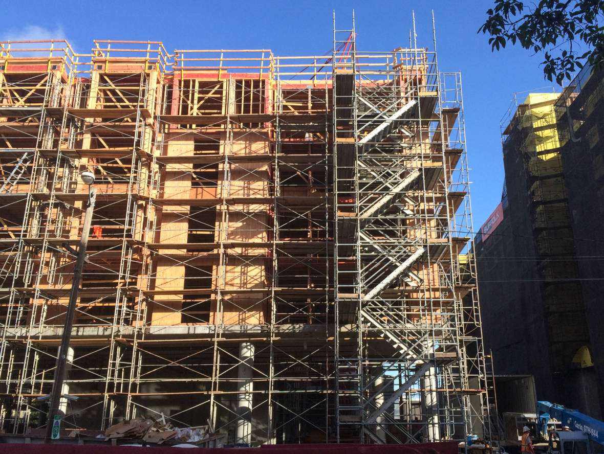 A residential complex under construction in January 2016 near Eighth and Townsend streets in San Francisco's Design District.  (Dan Brekke/KQED)