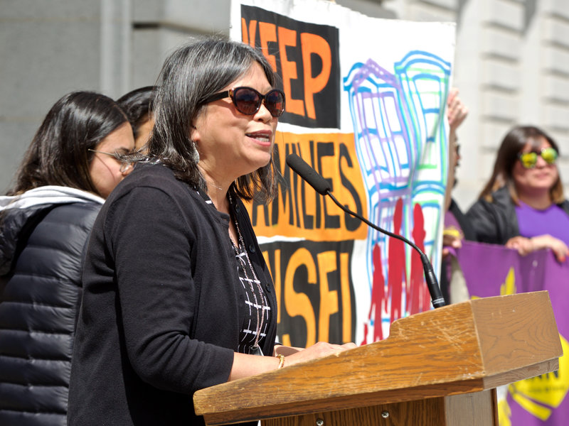 Supervisor Sandra Lee Fewer speaks to celebrate the expected passage of the Community Opportunity to Purchase Act that she authored at City Hall on April 16, 2019. (Photo by Kevin N. Hume)