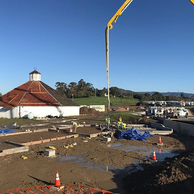 Finally placing the slab for The Shed Building at the Octagon Barn.