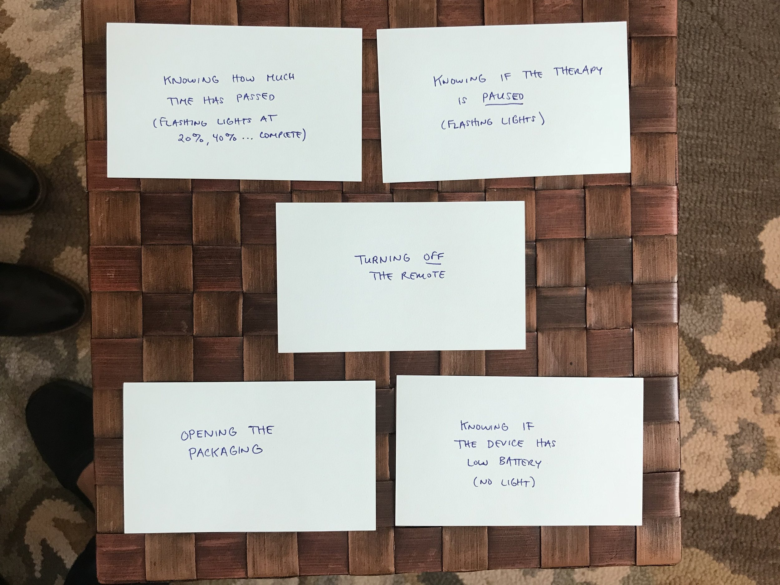 """Results of a card sorting task with """"Lara"""" — she listed the 5 hardest tasks given to her, from top to bottom"""