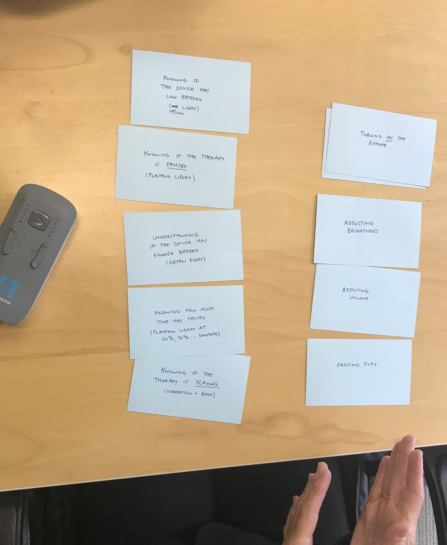 """Results of a card sorting task with """"Willow"""" — she organized challenging tasks into perception (left) and physical (right)"""
