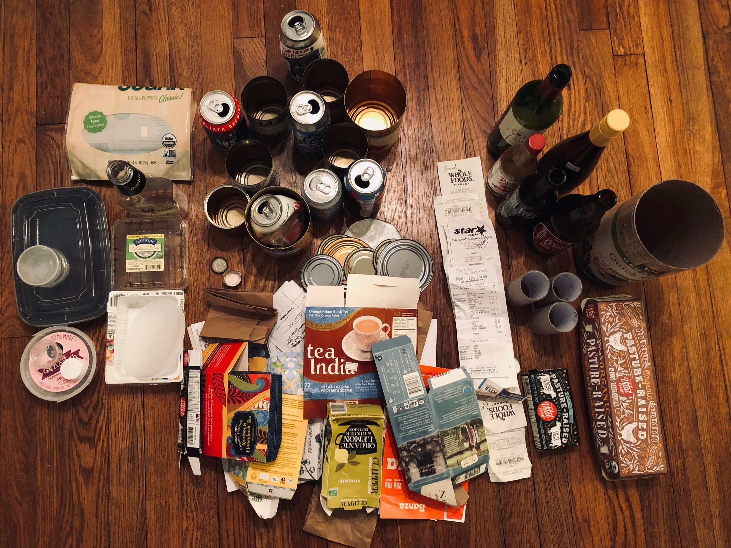 Photo from my most recent recycling bin audit (at-home recyclable waste produce over span of 2-weeks).