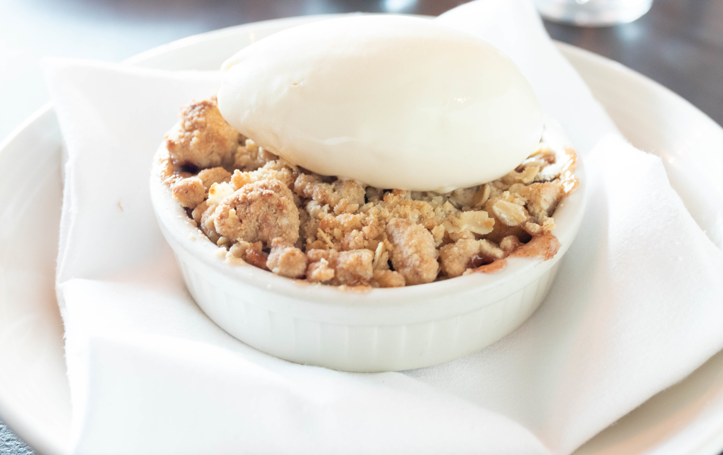 Professional foot photo of apple crisp at Scales in Portland, ME by Vision Balm in Charleston, SC.