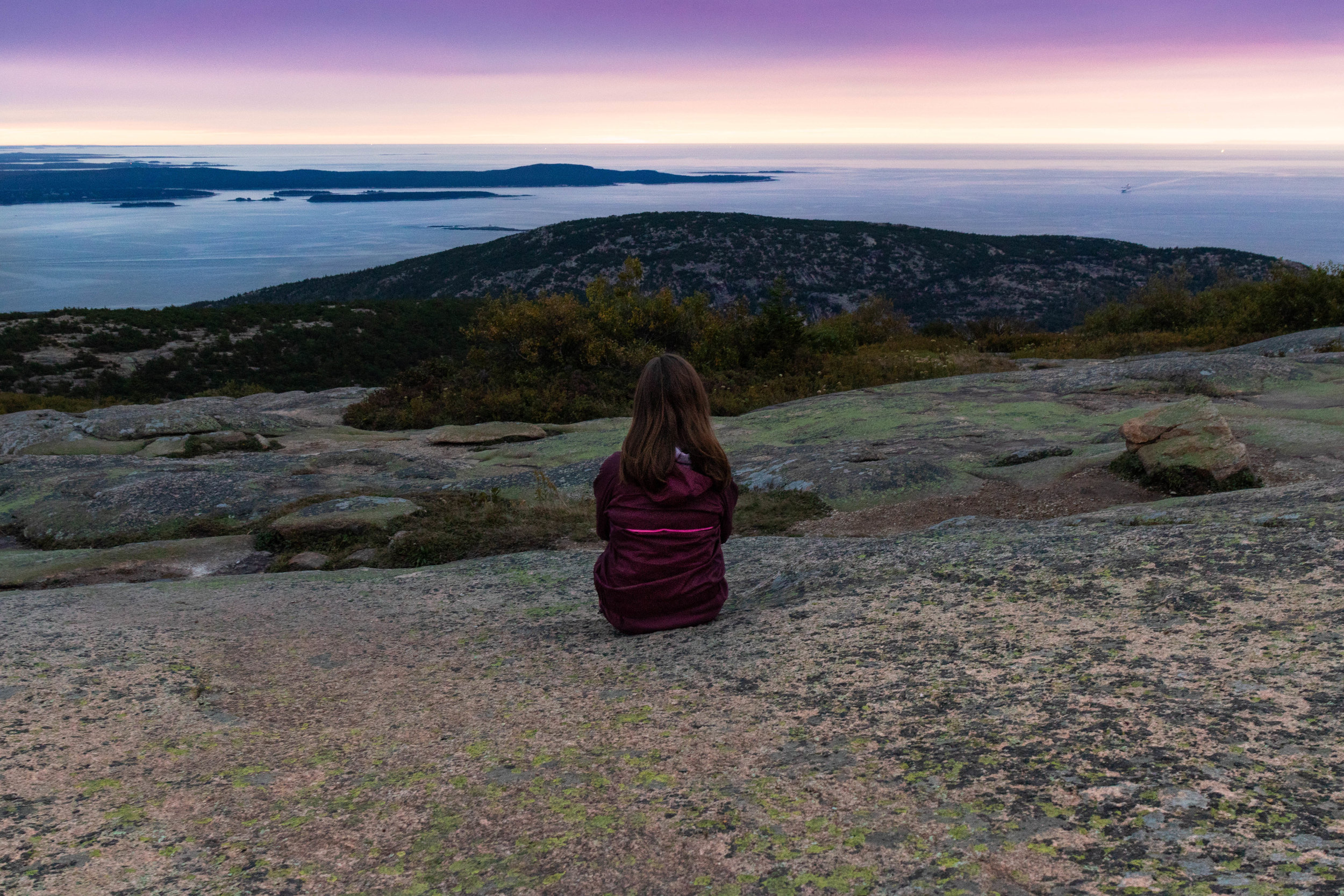 Landscape photo of Cadillac Mountain in Acadia National Park in Maine during sunrise by Vision Balm in Charleston, SC.