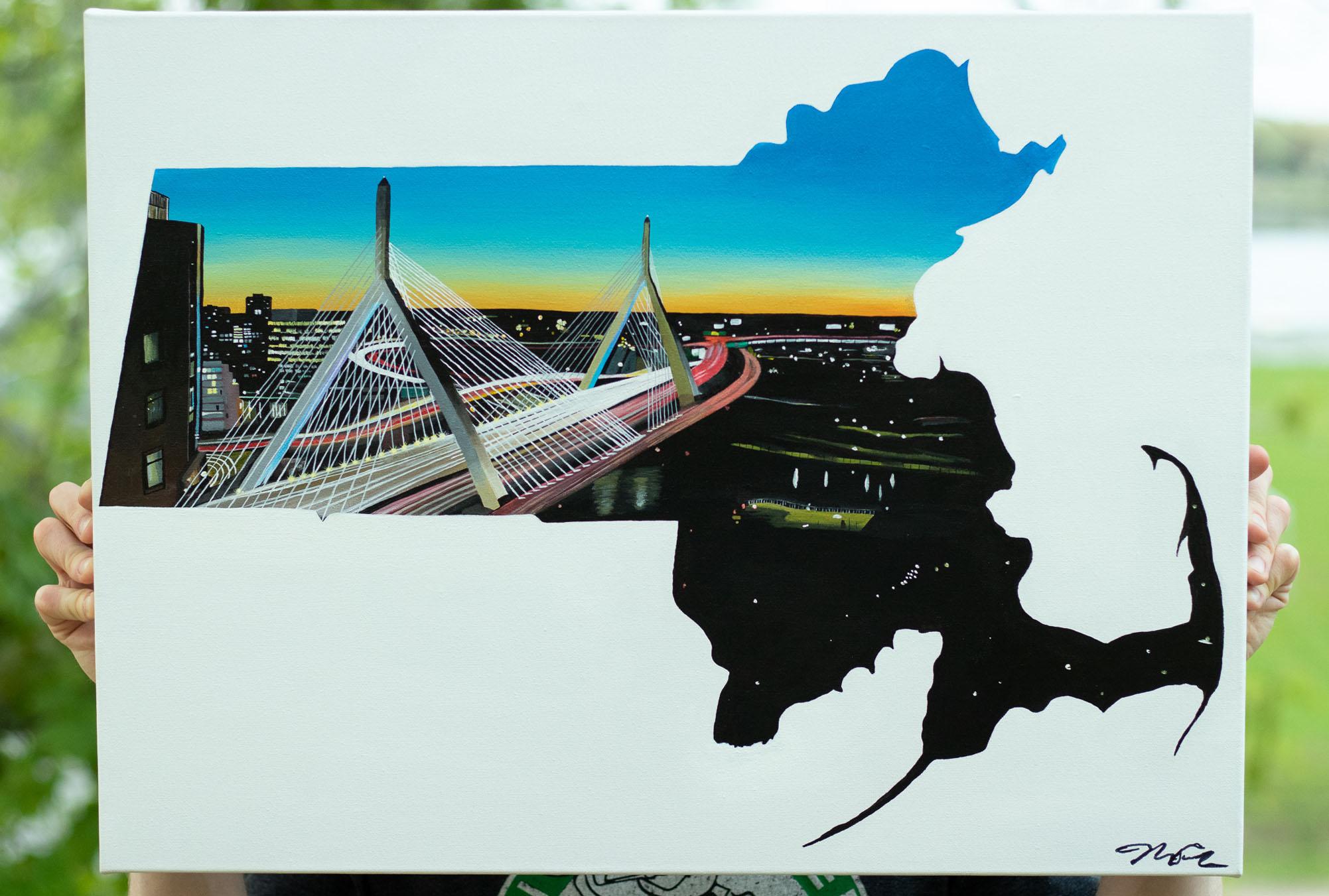 "Massachusetts - Zakim Bridge - Boston, MA21"" x 32"" Acrylic on Canvas"