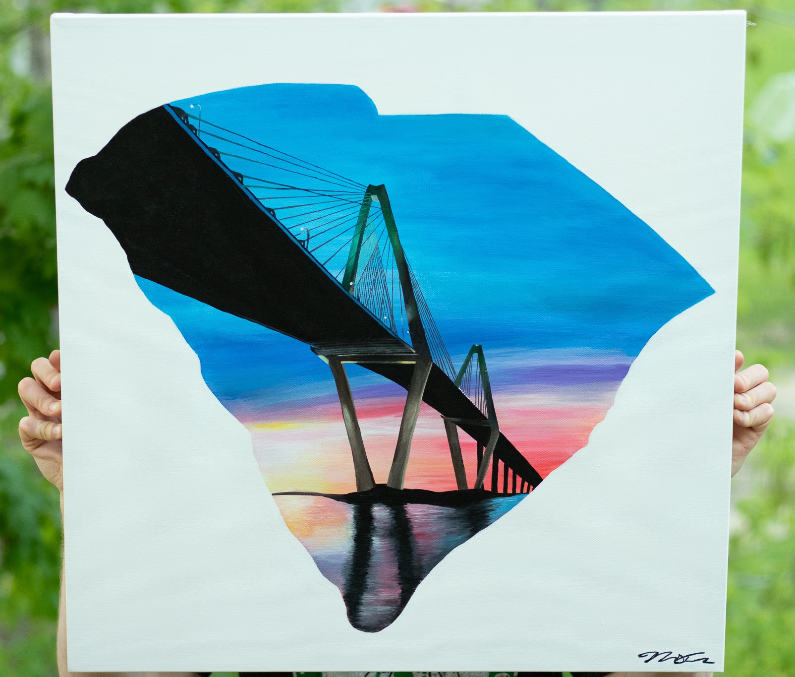 "South Carolina - Ravenel Bridge - Charleston, SC21"" x 21"" Acrylic on Canvas"