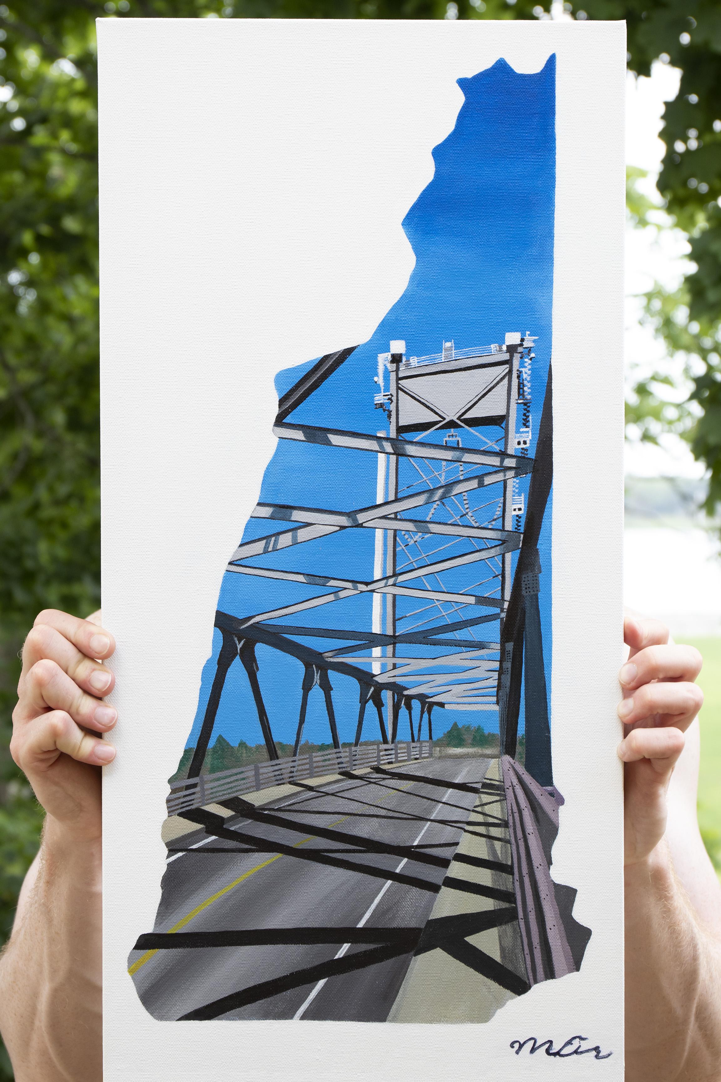 "New Hampshire - Memorial Bridge - Portsmouth, NH12"" x 24"" Acrylic on Canvas"