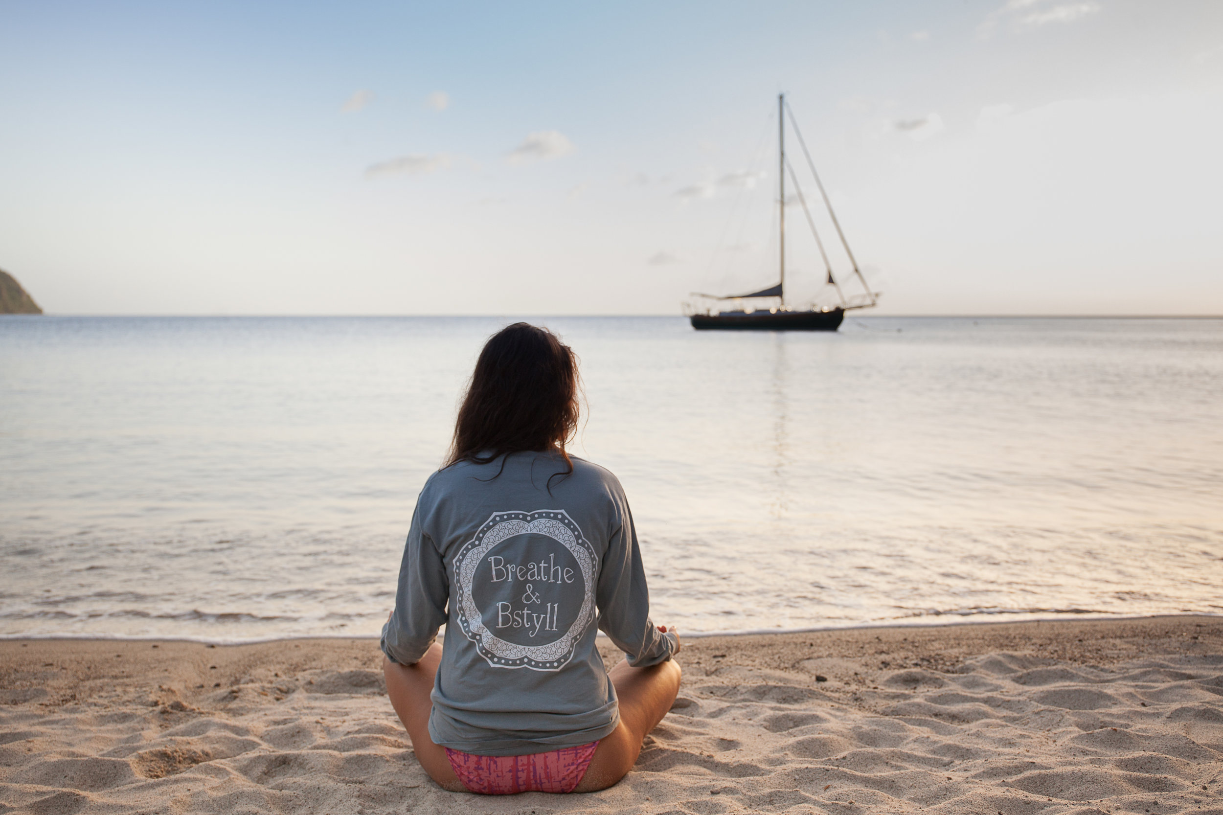 Breathe and BStyll long sleeve gray shirt on the beach in St. Lucia photographed by Vision Balm in Charleston, SC.