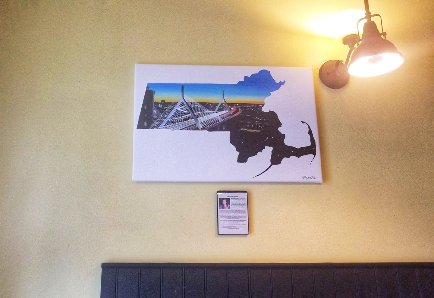 Massachusetts state painting displayed in The Paris Creperie, Boston, MA by Vision Balm based in Charleston, SC.