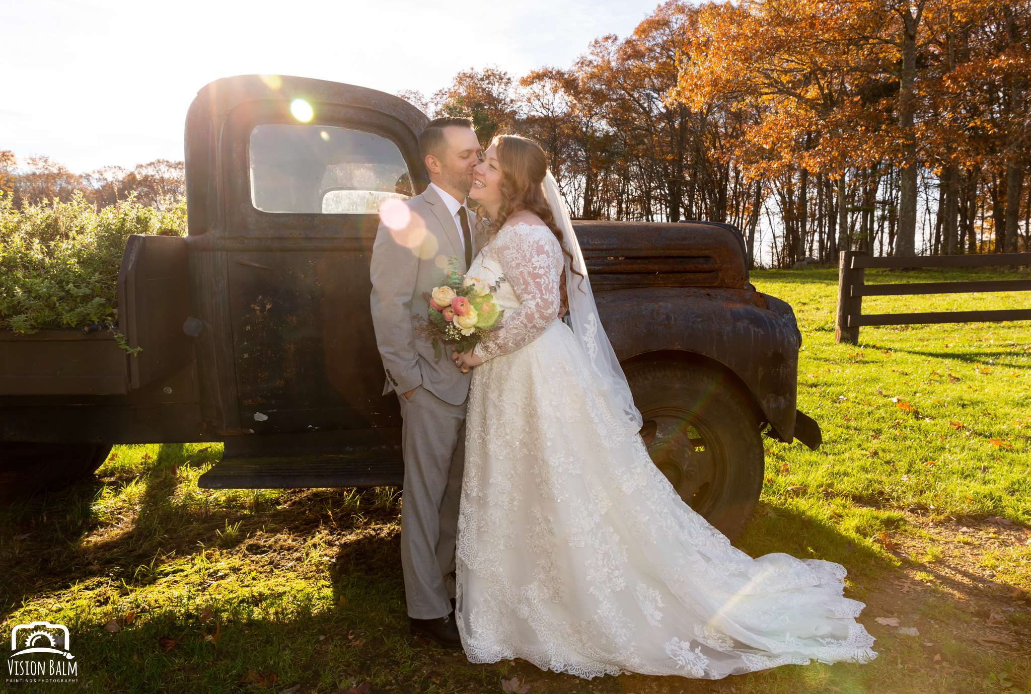 Wedding formal photo of bride groom in Zuka's Hilltop Barn by Vision Balm in Charleston, SC.