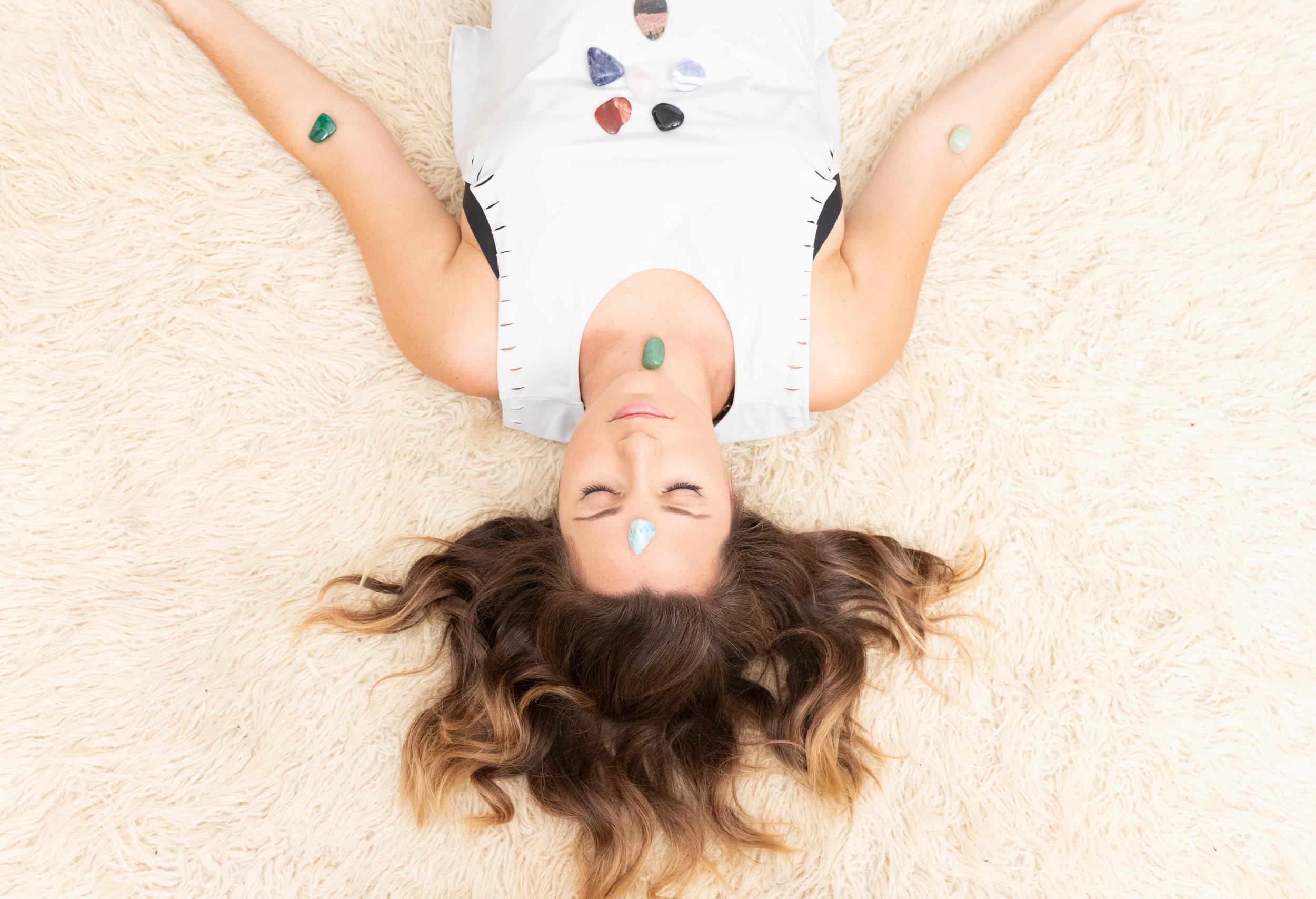 Professional lifestyle portrait of Natasha Wellness health coach ayurveda and chakra stones photographed by Vision Balm in Charleston, SC.