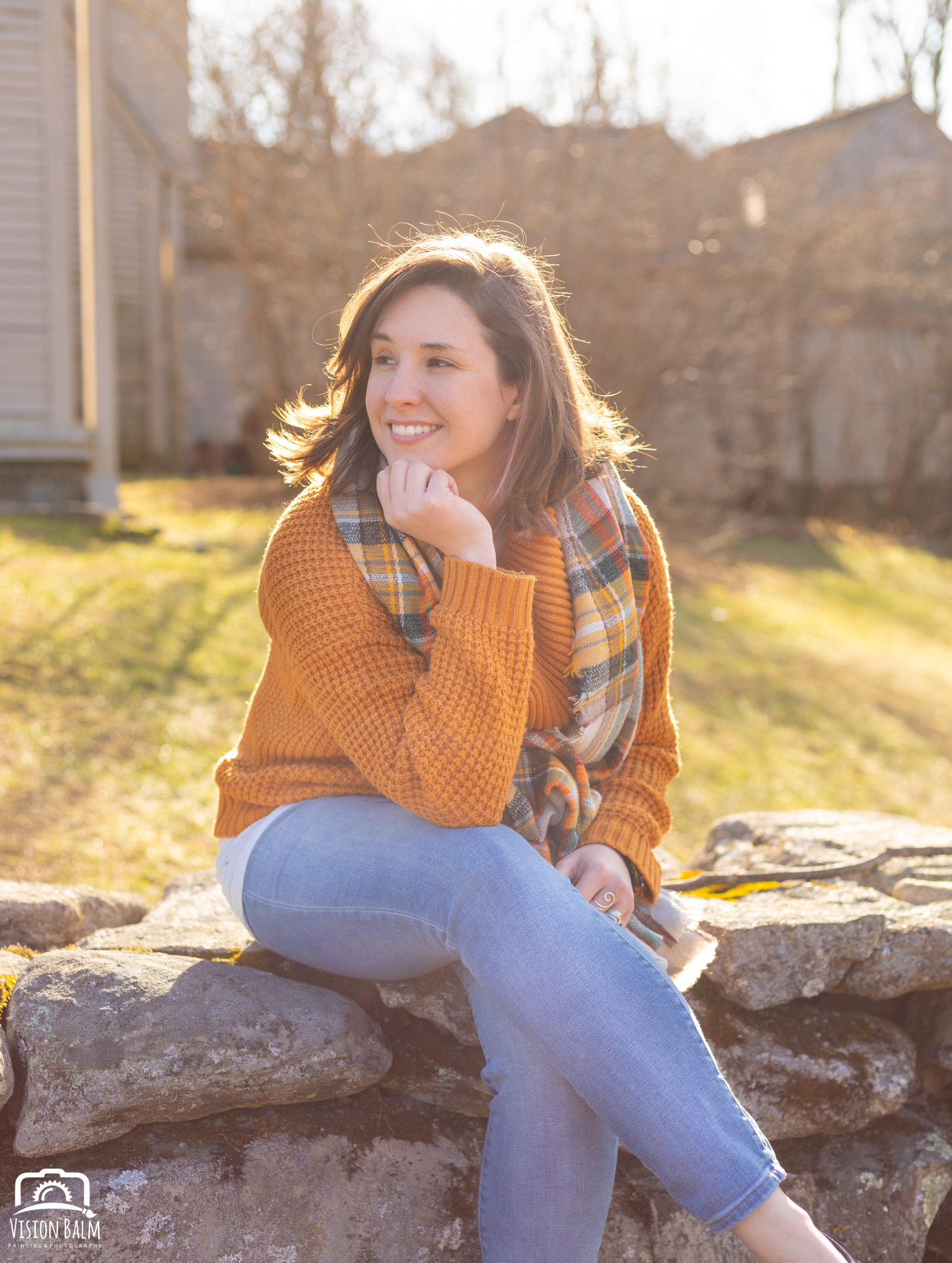Professional fall portrait photography of Kayla Thornquist wearing an orange sweater in the park photographed by Vision Balm in Charleston, SC.