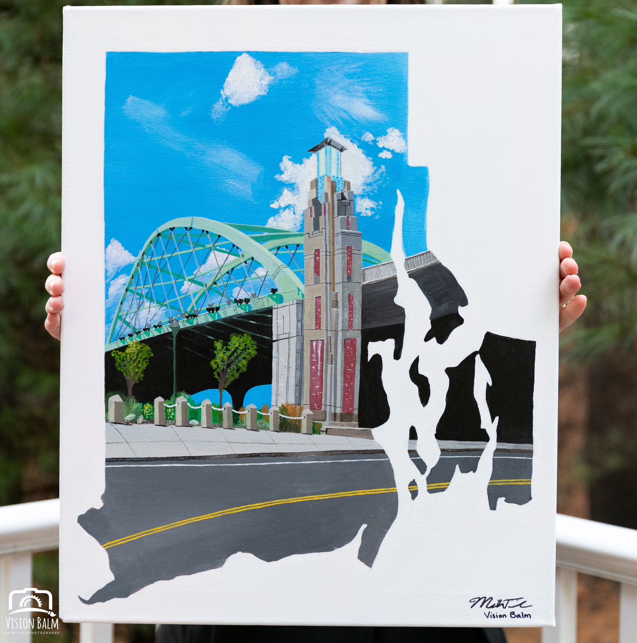 "rhode island - India Point Bridge - Providence, RI16"" x 20"" Acrylic on Canvas"