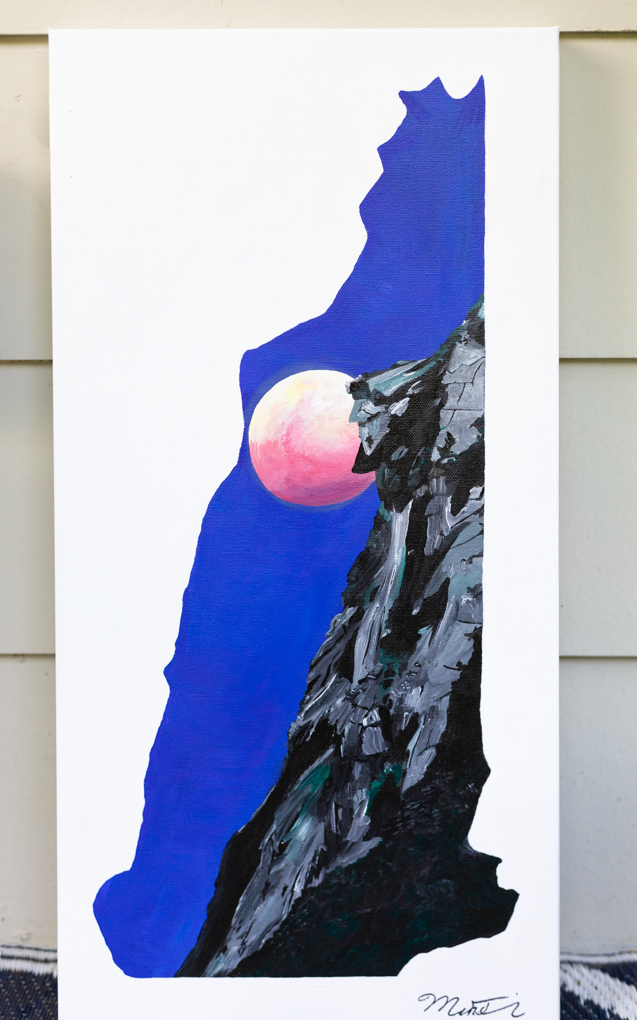 """NEW Hampshire - Old Man of the Mountain - White Mountains, NH12"""" x 24"""" Acrylic on Canvas"""
