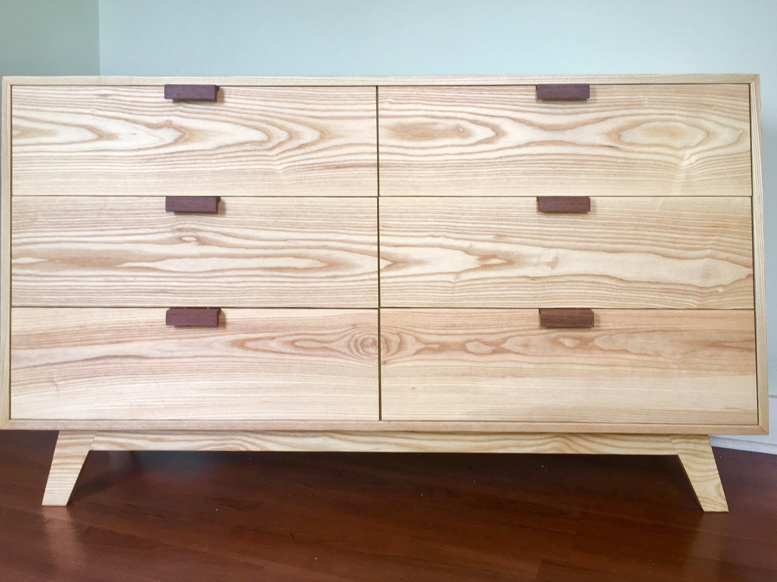 "6 Drawers Dresser | Ash, Walnut | 60"" x 30"" x 17"""