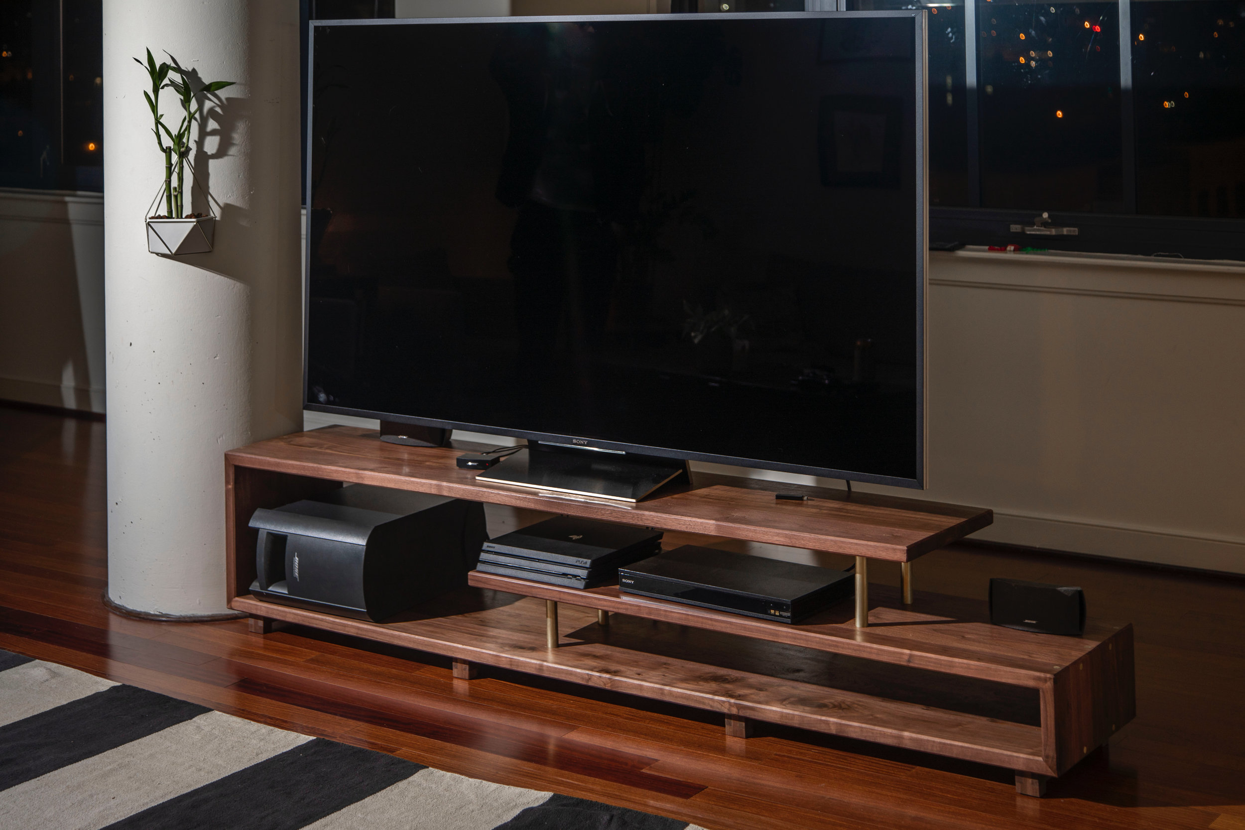 "Staggered Media Console | Walnut & Brass | 84"" x 16"" x 20"" Photos by Michael Shaffer"