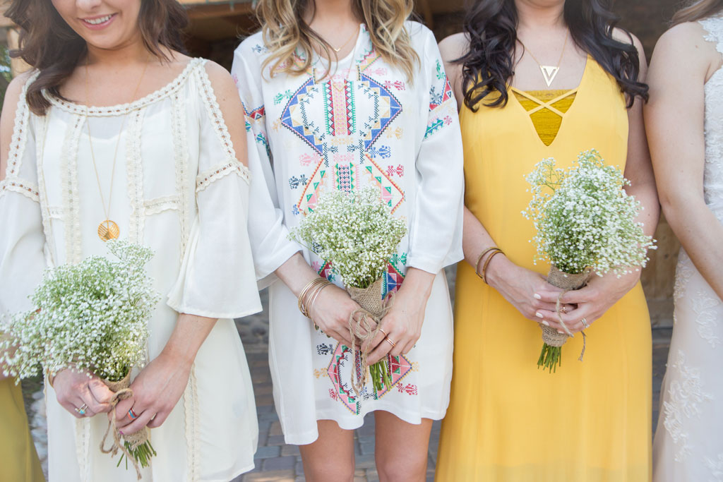 Mismatched Bridesmaid dresses done right for a bohemian wedding