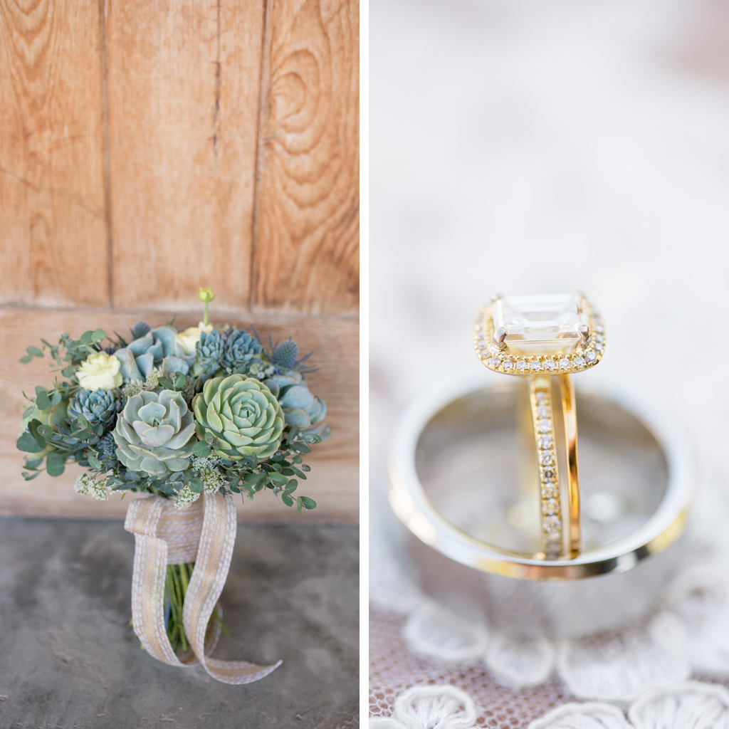 succulent wedding bouquet and gold ring