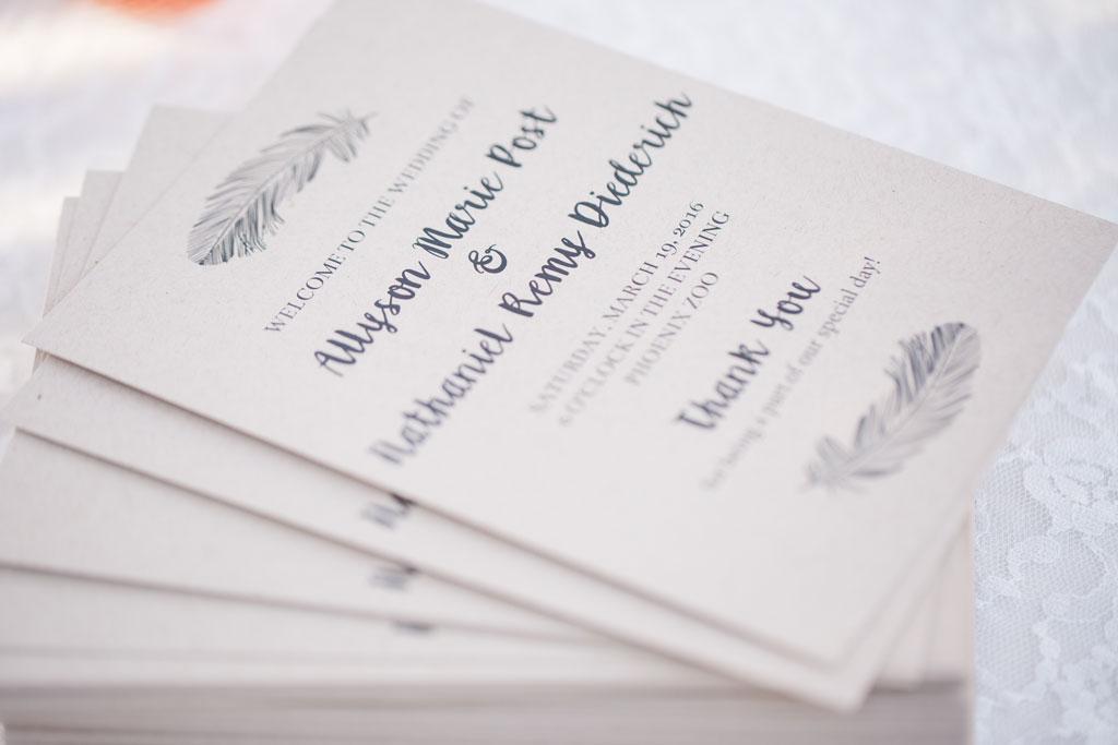 bohemian wedding program