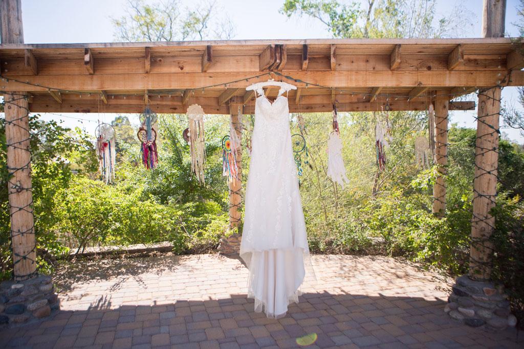 wedding dress and dreamcatchers