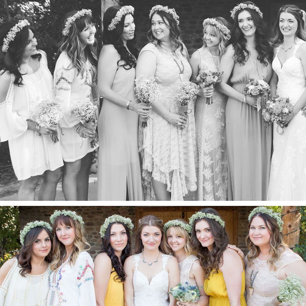 bridesmaids in different dresses bohemian