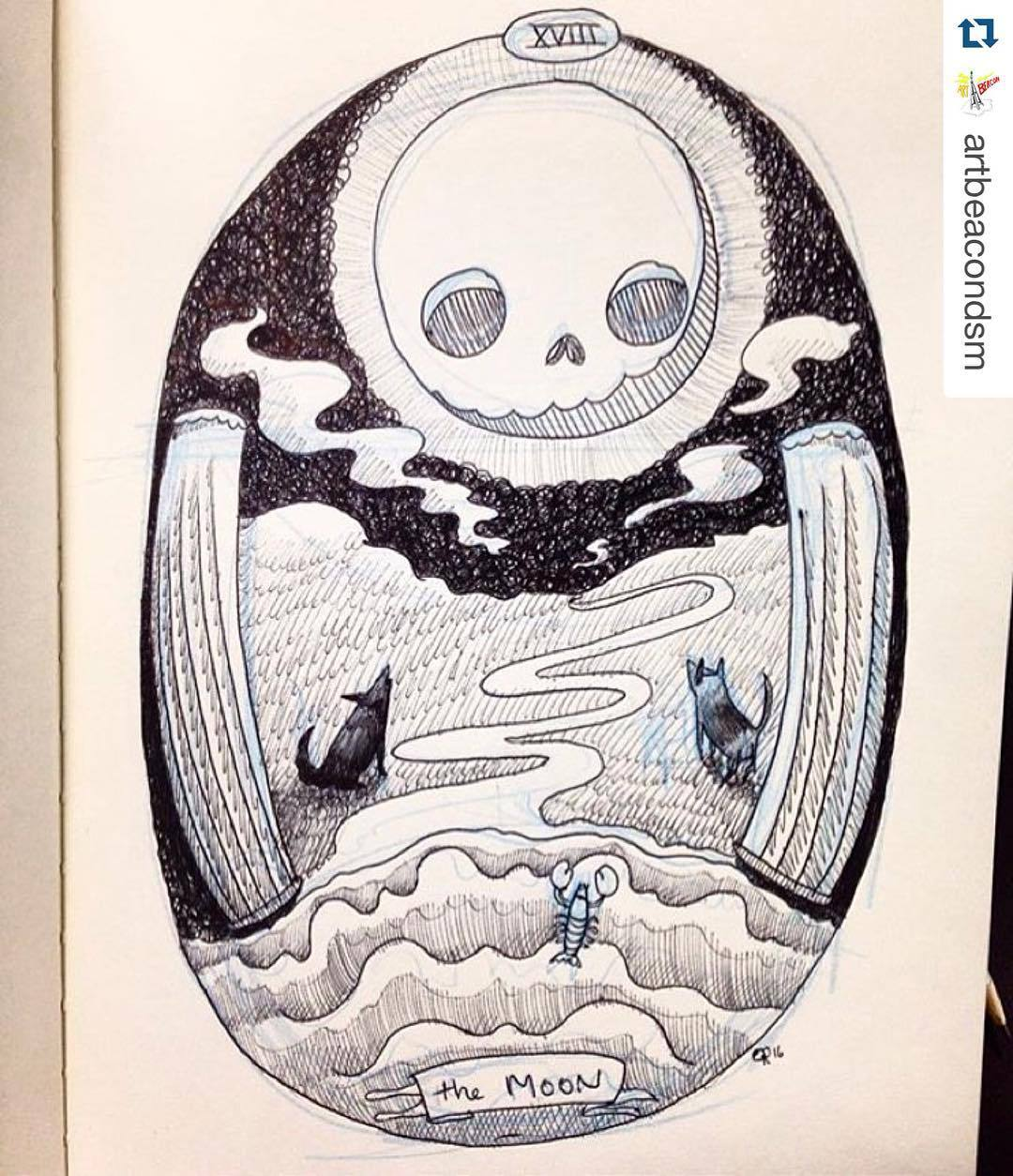 'Skeleton Tarot' at @marscafe Futures predicted Tonight 6 PM #artbeacondsm  …  #Repost @artbeacondsm by ooomami  http://ift.tt/1X0rbGD