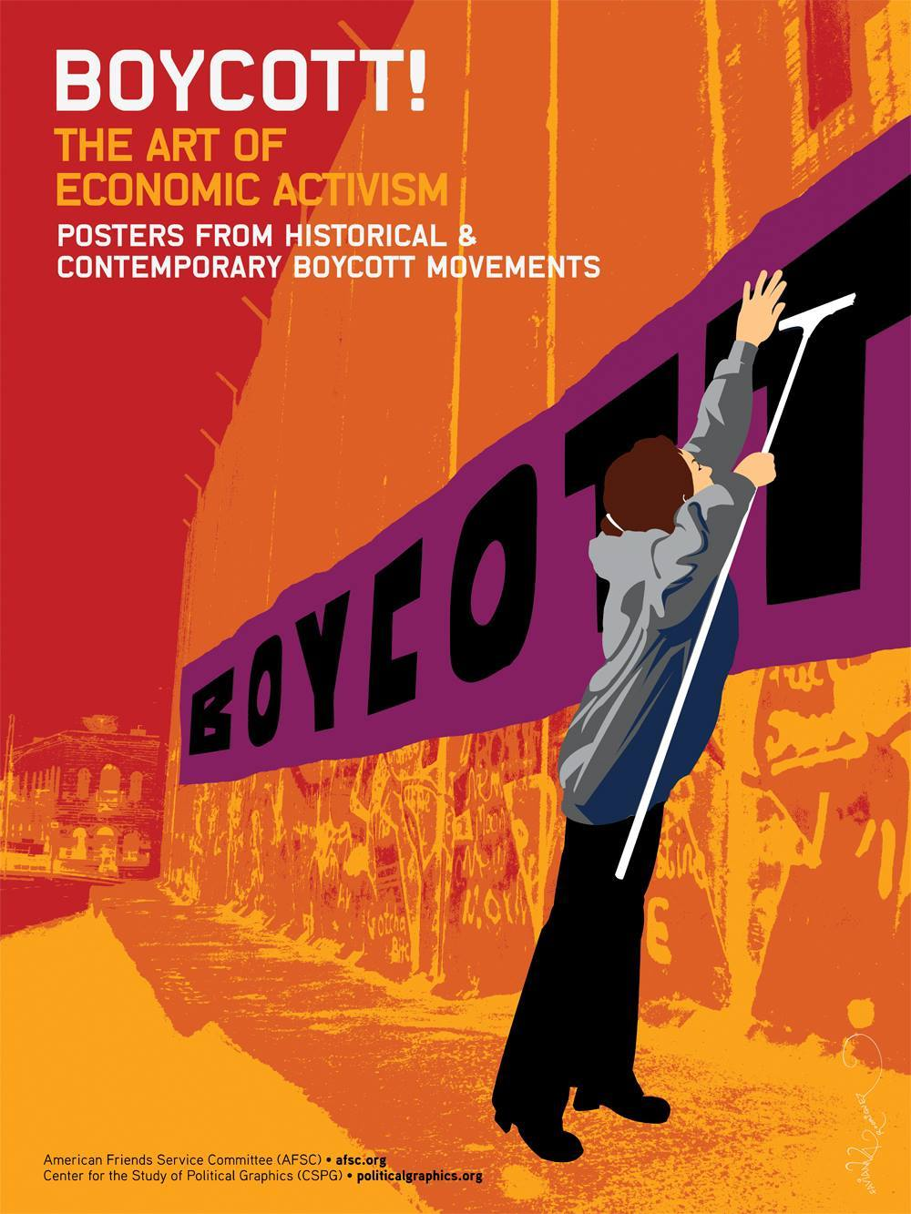 """Boycott! The Art of Economic Activism""  is a traveling poster exhibition that highlights historical boycott movements from the 1950s to the present.  The exhibit, created by AFSC and the Center for the Study of Political Graphics, features 59 posters from more than 20 boycotts, including the Montgomery Bus Boycott, United Farm Workers' grape and lettuce boycott, divestment from South Africa to protest Apartheid, boycotts of corporations using sweatshops, the Palestinian call for Boycott, Divest and Sanctions, and many others  Exhibit - March 8 - March 27  Sun. March 8th: 3-7pm- Boycott Exhibit opening reception with presentation by the AFSC.   Tues. March 10th at 7pm: Keynote Presentation by three young Palestinian woman from Gaza and the West Bank.   Thurs. March 26th at 7pm: Keynote presentation by Rabbi Brant Rosen, AFSC Midwest Regional Director  Free, All Ages"