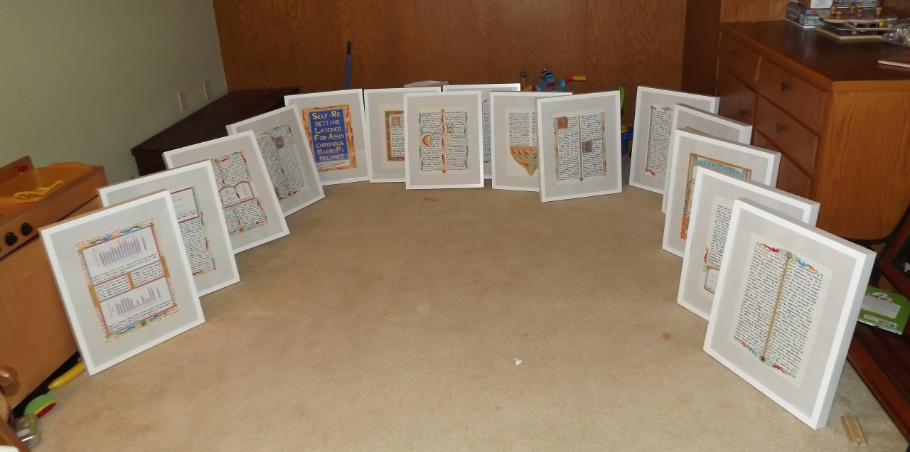 "preservedconfusion :     All the manuscript pages for "" Self-Resetting Latches for Asynchronous Micropipelines "" framed and ready to go for the "" Scientific Writing "" exhibition."
