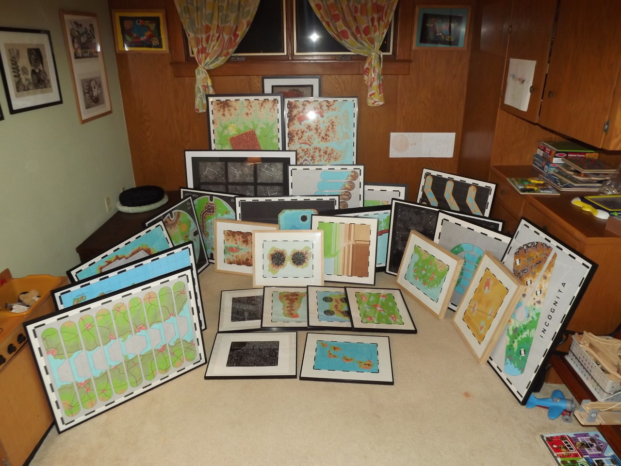 """preservedconfusion :     All the works for the """" Mapping (With) Electronics """" show framed and ready to be packaged. I'll take them to Austin next Thursday."""