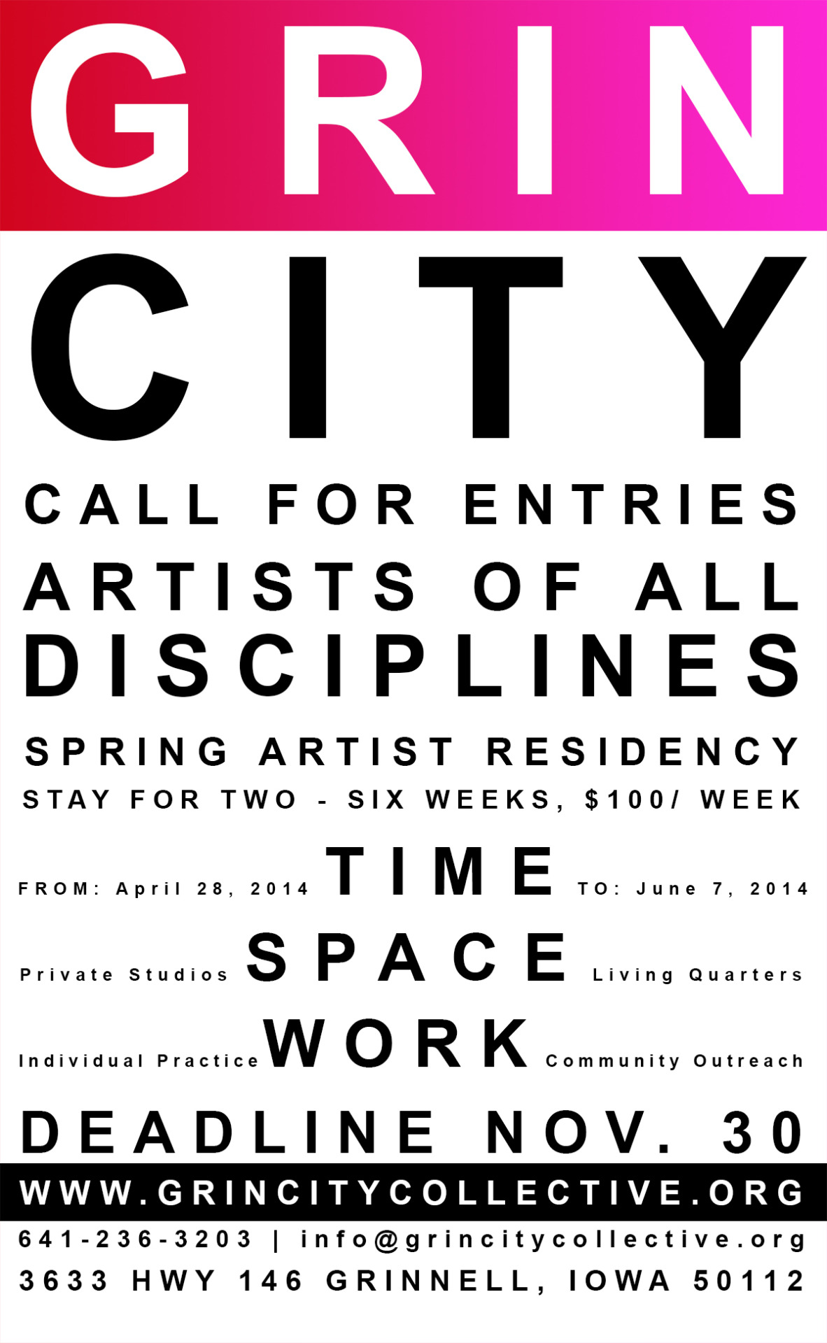 grincitycollective :     Application and more information  here .   In addition to our visual artist and musician studios, be one of the first to enjoy our brand new writers studios in a converted corncrib!