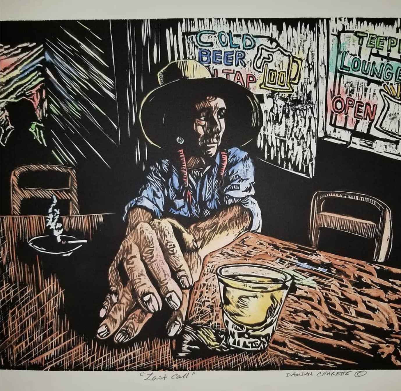 Last Call, 2016 by Damian Charette Woodcut