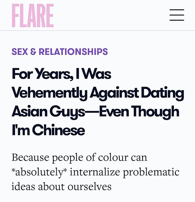 I used to be against dating Asian men. While I did have a significant relationship with an Asian guy in the past, I spent the majority of my dating years going for white guys. A lot of that was because of issues with my own cultural background. I so wanted to be like the white girls around me that I thought dating a white guy would make me less Asian. (Plot twist — it didn't and THANK GOODNESS FOR THAT). And because of society and media, I internalized all the negative and harmful stereotypes surrounding Asian men. Fortunately, my views changed, but these stereotypes still exist. This is why we need more diverse and accurate representation of people of colour! We are already seeing changes and Asian men like @simuliu @henrygolding @mjacint0 @harryshumjr are finally being recognized as hot and desirable by women of MANY different races. But more still needs to be done. I hope that future generations of Asian women are exposed to more accurate portrayals of Asian men AND women so that they don't choose their partners based on race (and especially deny their own race) like I did. To those of you who have read this @flaremag piece and have shared your personal experiences with me, thank you (link in bio if you haven't!). The reason I write stories like this is to provide relatable content to Asians because that's something I desperately longed for growing up. I'm so thankful that FLARE provides a platform for people of colour to tell their stories and share their experiences. This publication truly has a special place in my heart. And many thanks as well to @stacyleekong for always taking such great care with my work 🙏🏼🙏🏼🙏🏼 #APAHM #RepresentationMatters #representasian #asianrepresentation