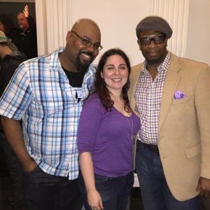 Backstage after a performance by activist Lin Manuel Miranda with Tony Award winner, Hamiton star, and Broadway Cares/ Equity Fights AIDS supporter James Monroe Iglehart and Broadway star and activist Melvin Abston.