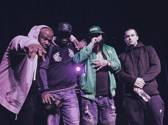 Fresh off the stage. The home team crushed it. @kgrfilms bout to bless the place just now - 📷: @uncledoe16 - - - #koolgrap #asuneastwood #danielson #bbm #brownbagmoney #saiphersoze #finn #producedbyfinn #revivalbar #littleitalytoronto