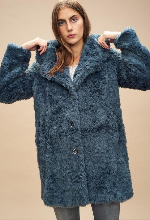 Manteau à poils bleu Claudie Pierlot