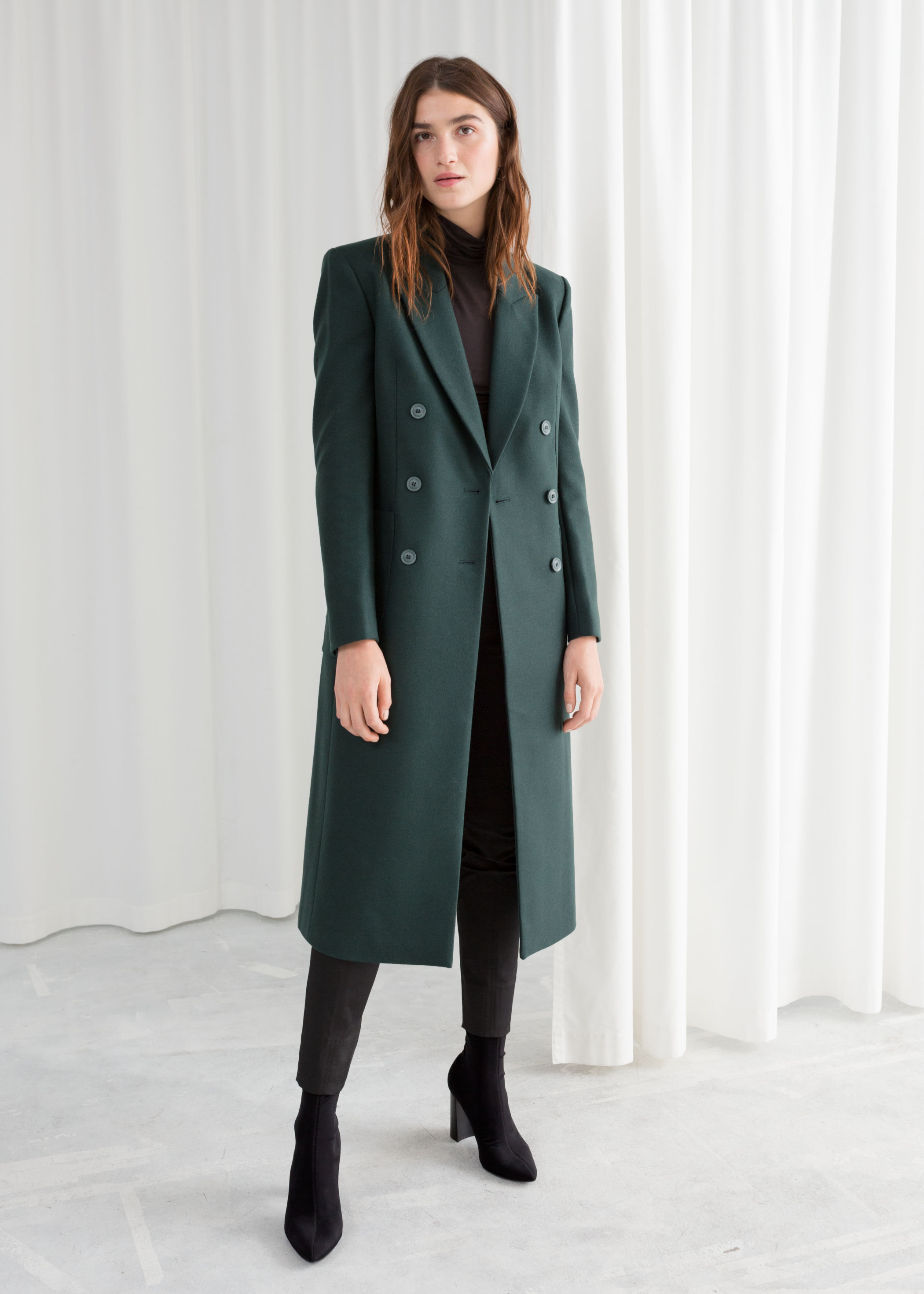 Manteau long vert sapin And Other Stories