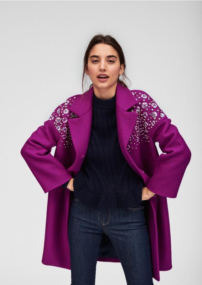 Manteau violet col bijoux Tara Jarmon