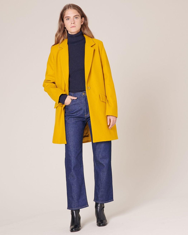 Manteau drap de laine jaune Sessùn
