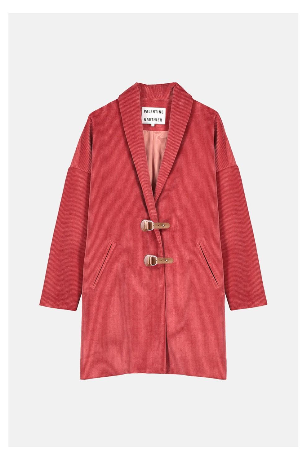 Manteau en velours côtelé camélia Valentine Gauthier