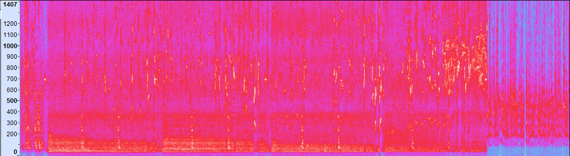 Sound spectrogram of  this  speed event from the FISAC-IRSF Championships in Sweden 2016. X-axis is time, y-axis is frequency. more red means more sound in that frequency at that time, blue represents less.