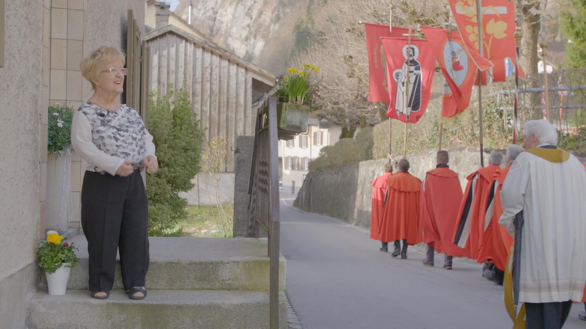 Olga at the Näfelser Fahrt (highest holyday in the Glarnerland)