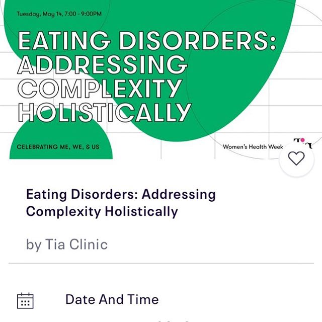THRILLED to organize this important event at my new doctors office @asktia on all things eating disorders, nutrition, and mental health! Please join me and so many other rockstars @experiencesevensenses @lizcnutrition @ruthiefrieds next Tuesday (5/14) at the #tiaclinic.  Link in bio 😊