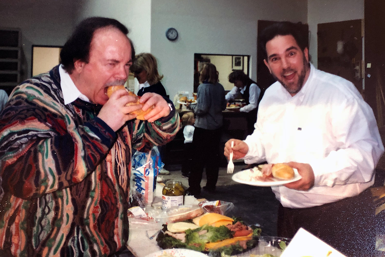 Arnie Nudell and Mark Schifter at a Genesis company lunch