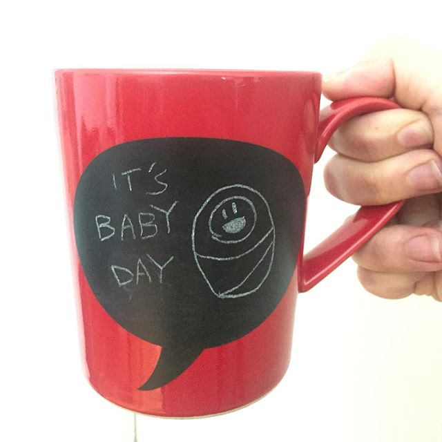 """Hey Lass, did you see your mug today?"" I sleepily squint at my coffee. ""It's Baby Day."" ""Do you know what that means?"" I scan my pre-coffee brain for context clues. Was the cat complaining all night? Oh no, does Chad want to MAKE a baby? ""... I don't wanna know."" ""My sister went into labor today!!"" ""Oh — phew. That's really good news."" . We are now anxiously awaiting our niece's arrival and wishing for a swift, uncomplicated delivery. Please  join us in sending good vibes into the Universe for Chad's sister 💕 . . #babyday #firstbaby #sister #niece #chalk #coffee #illustration #artistsoninstagram"