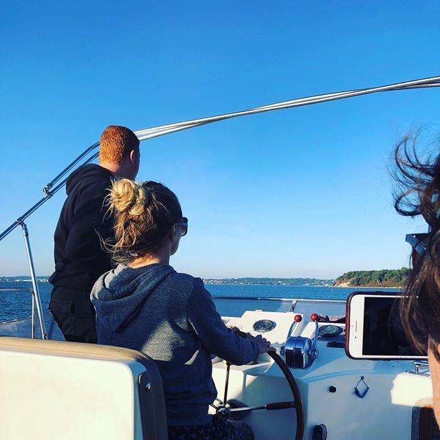 Being on, or in, the sea is one of my most favourite places to be. 🌊  This was almost a year ago, when we got to drive a pretty massive boat off the coast of Dorset, where we live. So much fun.  Anyone else out there love the ocean? 🌊 🙌  #dorset #boat #poole #blueskies #september
