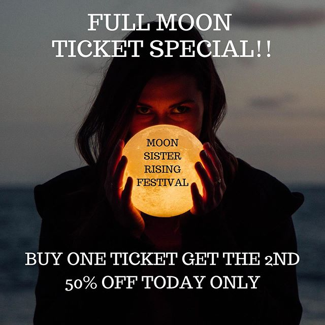 🌕 Happy Full Moon and Friday, the 13th!!🌕 . . ⚡️The Moon Sister Rising Festival is so much more than an event⚡️. It's a day when we all join together to heal ourselves, to rise up, create change, show up exactly as you are without judgement, the good, the bad, the dark and the light - toss it all into the 🔥 and allow the powerful and fierce force of lady 🌊 to transform your soul and birth your dreams. . . . We invite you to join us and an incredible community on September 14th (TOMORROW!!) to celebrate and howl under the 🌕 . To yell out and claim your desires. To own your worth, your shadows and stand in your power. To connect with community and birth an energy so strong that your dreams are awakened. ⚡️TOGETHER WE RISE⚡️ . . ✨In honor of this very SPECIAL 🌕, we are howling a Full Moon Special! Buy One Ticket, Get 2nd 50% Off TODAY ONLY!! Link👆 in bio!🔮