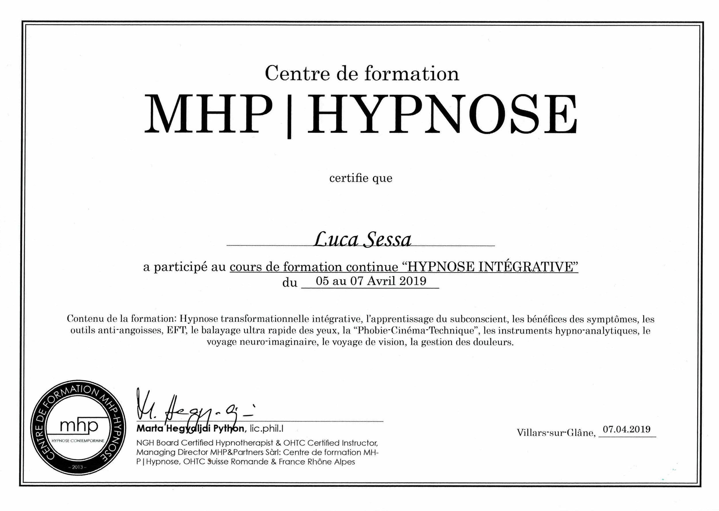 Luca Sessa Hypnose Lausanne