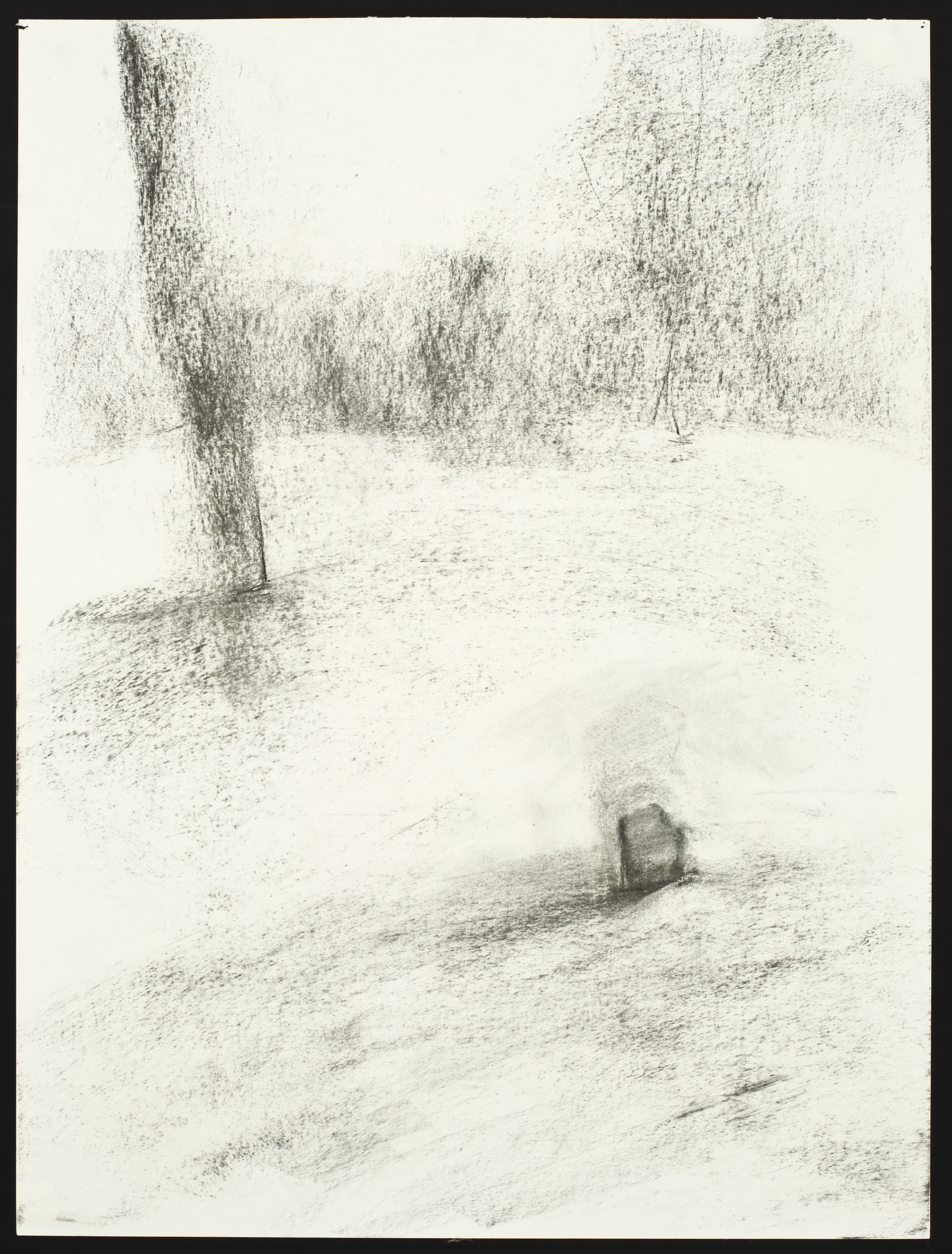 """Slave Cemetery  Charcoal on Paper (24x18"""")"""