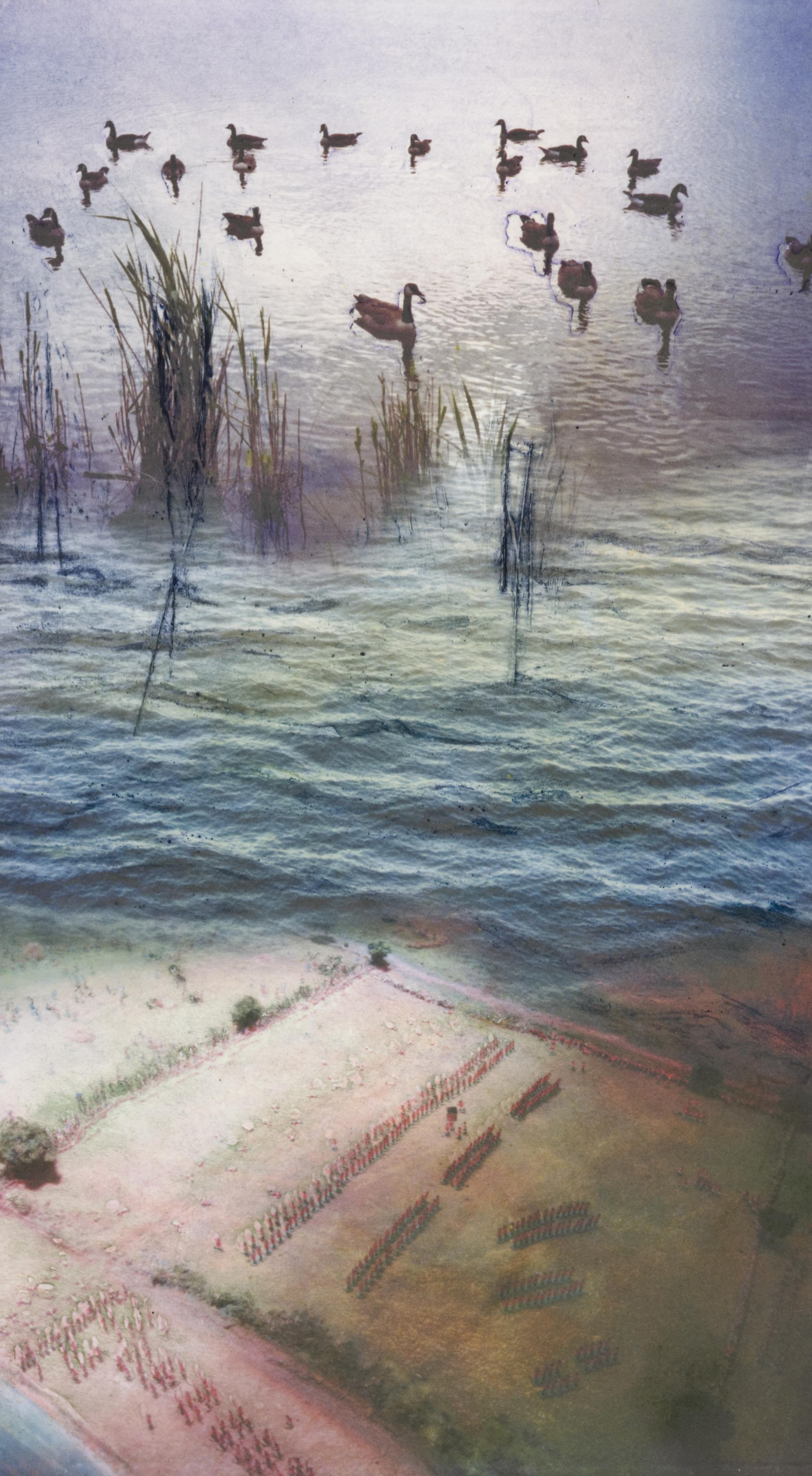 "Ducks on a Pond  Monoprint/Collograph (16x10"")"